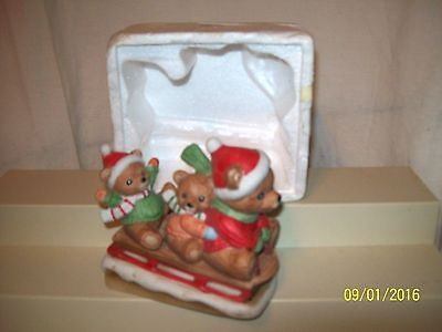 "HOMCO 3 Christmas Bears on Sled in Snow 5"" #5306"
