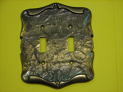 Vintage Amerock Carriage House Double Electric Switch Cover Plate Antique Brass