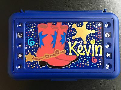 Western Cowboy Cowgirl Custom Personalized Pencil Color Art Box School Red Boots