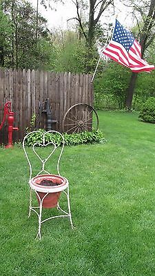 Vintage Antique Wrought Iron Twisted Metal Ice Cream Parlor Chair Planter Decor