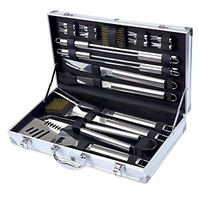 BBQ Grill Tools 19-Piece Set Heavy-Duty Stainless Steel Barbecue Utensils NEW