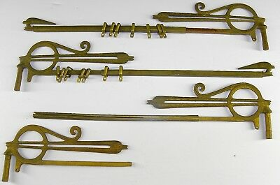 Antique ART DECO Curtain Drapery Rods EXTENDING Adjustable SWING ARM Gold Finish
