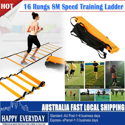 Pro Agility Speed Sport Training Ladder 8m Soccer Fitness Boxing 16 Rung w/ Bag