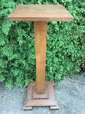 Antique Carved Turned Wood OAK NEWEL POST Plant Stand Architectural Salvage #3
