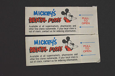 Lot of 2 Vintage Mickey Mouse Sample Dental Floss Packs Walt Disney Productions