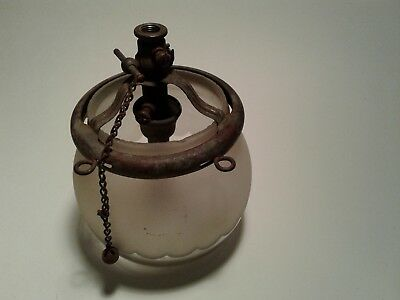Antique Welsbach Co.  Reflex Gas Light Sconce With Frosted Globe
