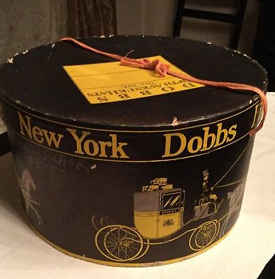 ANTIQUE DOBBS NEW YORK FIFTH AVE HAT BOX with Tie Vintage Round