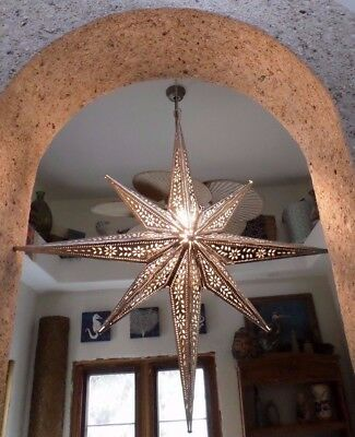 Mexican Art Punched Tin Moravian North Star Light Pendant Silver Christmas 37""