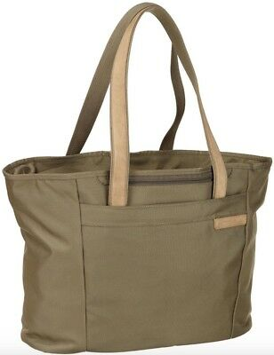 Briggs & Riley Baseline Large Shopping Tote 255-7, Gently used Olive,13x17x7.3