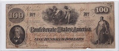 1862 $100 One Hundred Dollars Richmond Virginia Confederate Note