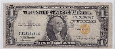 Series 1934 A Yellow Seal One Dollar Silver Certificate North Africa $1 Note