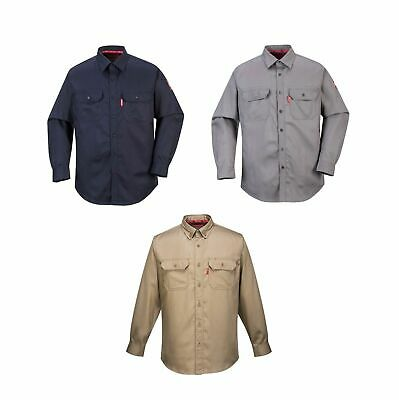 Portwest FR89 Gray or Navy Bizflame 88/12 Flame Resistant Work Shirt