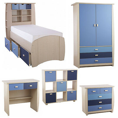 Kids Blue Oak Bedroom Furniture Sets Two Tone Boys Chest of Drawers Desk Storage