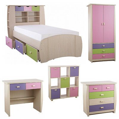Girl's Pink Oak Bedroom Furniture Sets Colourful Chest of Drawers Desk Storage