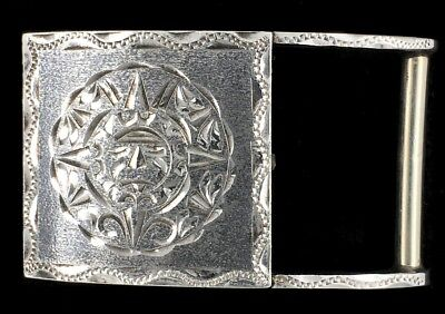 Vtg Tribal Mayan Mexican Aztec Sun Face God Warrior Sterling Silver Belt Buckle