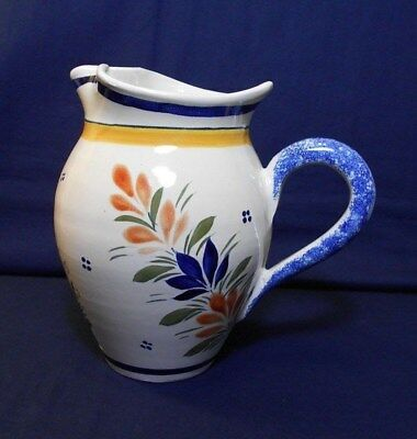 French Henriot Quimper, 7 Inch Pitcher, Breton Woman Hand Painted Faience