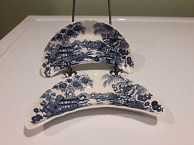 2 - Tonquin Royal Staffordshire WHITE &  BLUE BONE DISH/ Plate by Clarice Cliff
