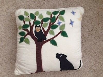 Black DOG Throw Pillow Folk Art~ Quilted~ Whimsical~Owl & Tree~Quilted