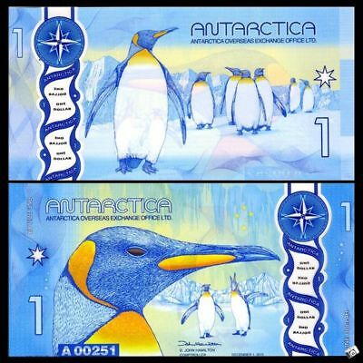 Antarctica $1 (1 Dollar) 2015/2016 Clear Window Polymer New Design, UNC, Penguin