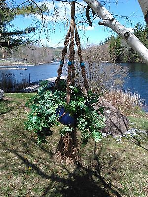 Saranac Macrame Plant Hanger With Turquoise-Colored Beads (48 inches)