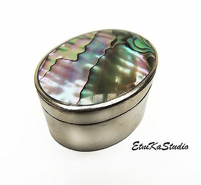 Mexican Alpaca silver Box with Abalone mother of the pearl shell cover