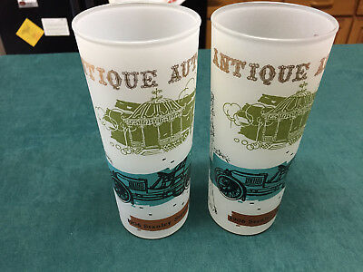 Pair of Two Vintage Etched Drinking Glasses Antique Autos 1906 Stanley Steamer