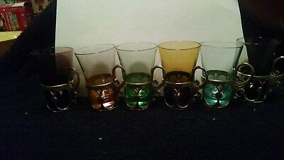 Vintage Multi-Colored Shot Glasses with Gold Metal Holders Set of 6