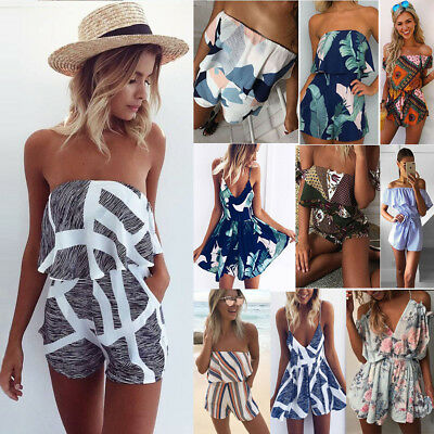 AU Womens Holiday Mini Playsuit Jumpsuit Casual Summer Beach Sundress Size 6-18