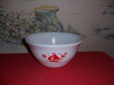 """Vintage McKee 9"""" Red Sailboat Mixing Bowl with nautical theme"""