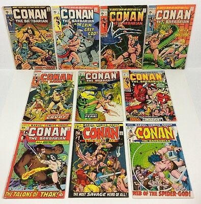 Conan #1,3,4,7,8,9,10,11,12,13 KEY Lot (Barry Smith 10 Issue LOT) 1970s Marvel
