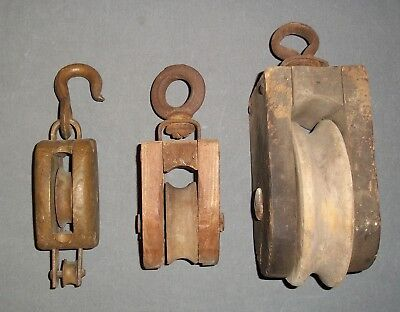 Vintage Lot of (3) Wood Block & Tackle Pulley Wrought Iron Bronze Hook Antique
