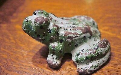 Antique Heavy Iron Painted Frog Figure Great Garden Piece Collectible