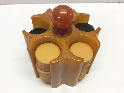 Vintage Bakelite Poker Chip Caddy And Chips Miniature Size N6