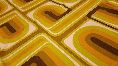 Awesome RARE Vintage Mid Century retro 70s funky geometric loops fabric! LOOK!