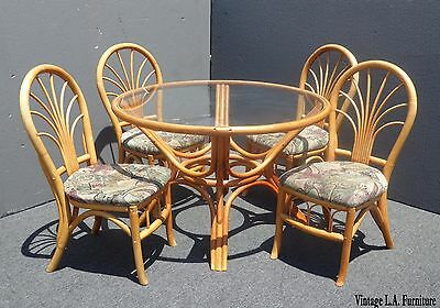 Vintage Mid Century Modern Bentwood Bamboo Glass Dining Room Table &Four Chairs