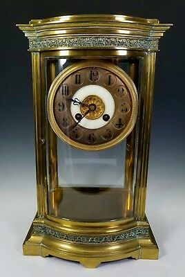 19th C. ANTIQUE VINCENTI & CIE FRENCH BRONZE CURVED GLASS REGULATOR MANTLE CLOCK