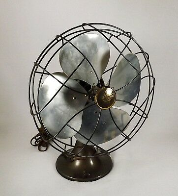 Antique Emerson 6250 K Reciprocating Fan Brass Blades Works Great Art Deco
