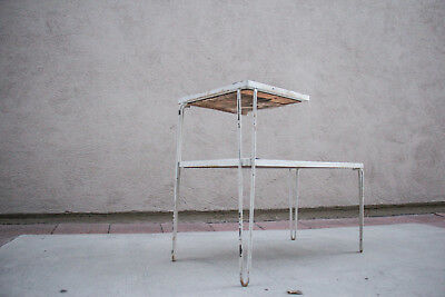 Vintage 1950s side table wrought iron mid century modern Hairpin Legs