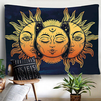 Mystic Psychedelic Celestial Energy Tapestry Moon and Sun Wall Hanging Tapestry