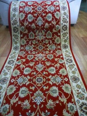 Soft High Quality Persian Design Hallway Runner by the Meter Allover Desouk Red