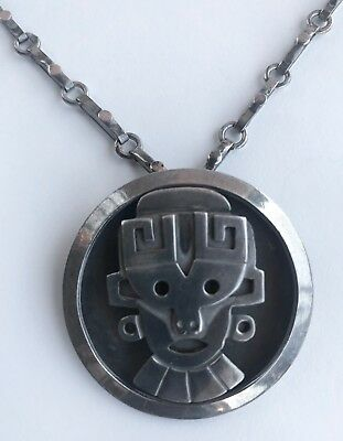 Vintage Taxco Mexico Sterling Silver 3D Mayan Aztec Mask Pendant Necklace 925