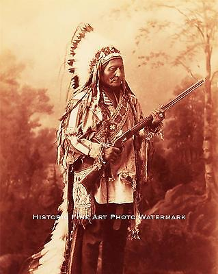 Sioux Indian Chief Sitting Bull Vintage Photo Native American Old West - 21540