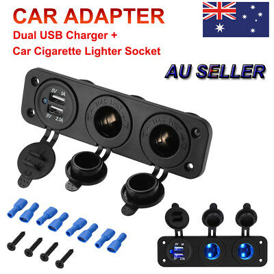 12V Car Boat Cigarette Lighter Socket +Dual USB Port Charger Mount Panel MA1503