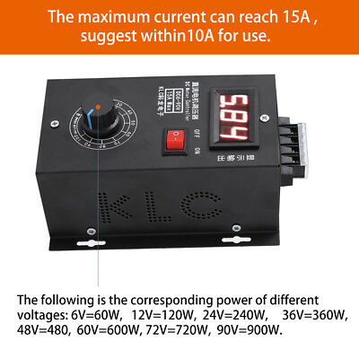 Universal 6-90V PWM DC Motor Speed Control PLC 15A Governor Volt Display New