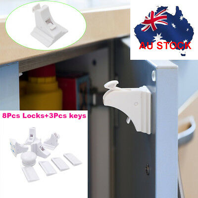 8 Sets Magnetic Baby Kids Pet Proof Cupboard Cabinet Drawer Safety Lock AU