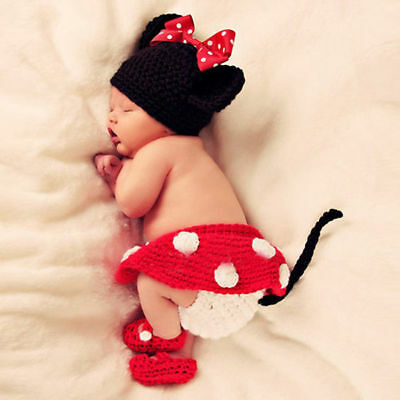Baby Cartoon Mouse Hand Knitted Crochet Hat Costume Photograph Props Outfit Set