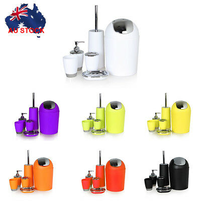 6PCS Plastic Bathroom Accessory Dispenser Toothbrush Holder Tumbler Cup Toilet