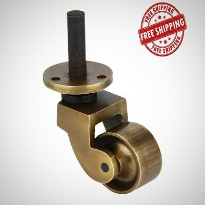 A29 Solid Brass Stem Caster Antique Brass Finish 4 Set Mounting Hardware New