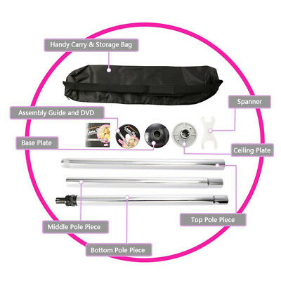 Dance Pole Full Kit Portable 50Mm Exercise Home Gym Dancing Fitness Silver