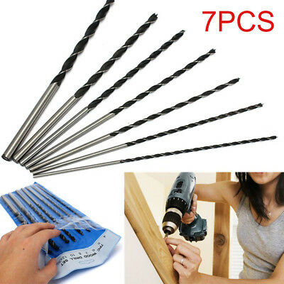 7Pc 300mm Extra Long Brad Point Auger Wood Drill Bit Tool Set 4,5,6,7,8,10,12mm